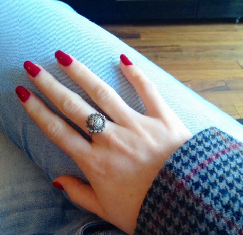 Antique ring and autumnal nails